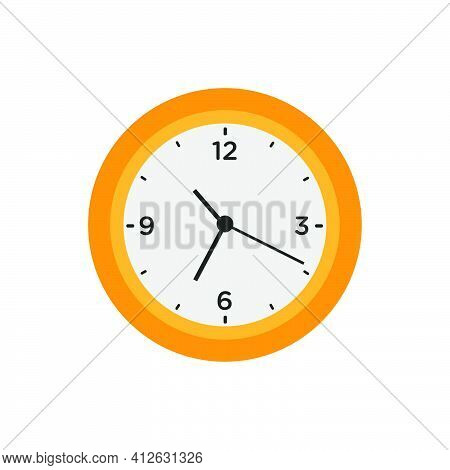 Wall Clock Time Circle Symbol Vector Illustration Office Watch Icon With Number. Round Wall Clock Wi
