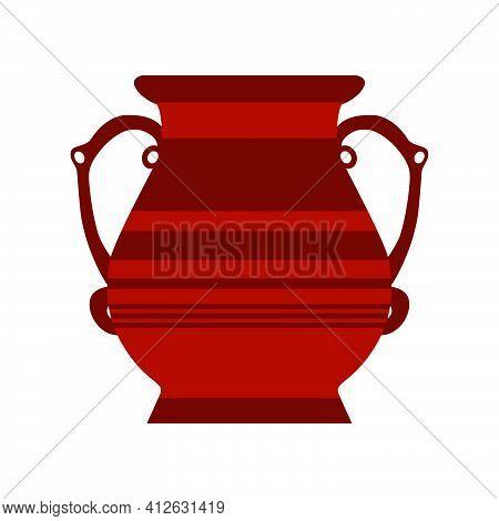 Clay Jug Ceramic Pottery Vector Antique Jar. Isolated Clay Vase Old Icon Illustration. Brown Jug Amp