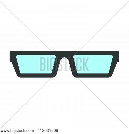 Eye Glasses Vector Fashion Illustration Black Frame Design Isolated White. Retro Eye Glasses Optical