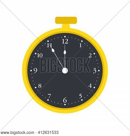 Pocket Watch Time Clock Vector Old Vector Illustration Antique Icon. Retro Gold Pocket Watch Classic