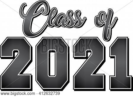 Class Of 2021 Black And White Gradient Banner Logo