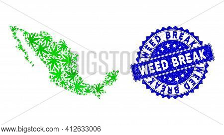 Green Mexico Collage Map Done Of Mexican Marijuana Elements, And Weed Break Distress Badge. Vector M