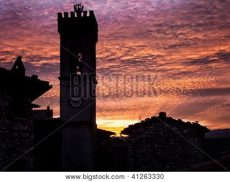 Campanile at dusk, Italian Architecture - Umbria