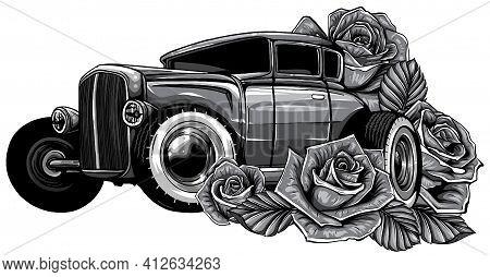 Monochromatic Easter Car. Retro Automobile Driving A Bouquet Of Tulips. Hand Drawn Vector Illustrati
