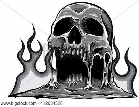 Monochromatic Skull That Is Melting Vector Drawing Illustration