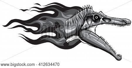 Monochromatic Dinosaurus Spinosaurus Head Art Vector Illustration Design