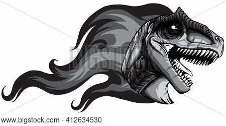 Monochromatic Dinosaurus Allosaurus Head Art Vector Illustration Design