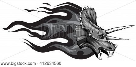 Monochromatic Dinosaurus Triceratops Head Art Vector Illustration Design