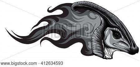 Monochromatic Dinosaurus Parasaurolophus Head Art Vector Illustration Design