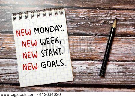 Handwriting Text Writing New Monday New Week New Goals.