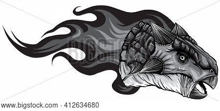 Monochromatic Dinosaurus Ankylosaurus Head Art Vector Illustration Design