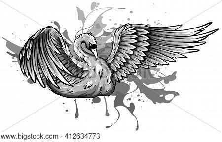 Monochromatic Vector Illustration Of Swan Symbol Or Icon