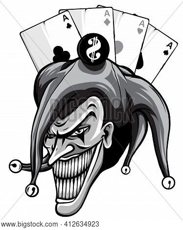 Monochromatic Joker. Angry Jester In The Cap. Tattoo Illustration