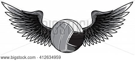 Monochromatic Volleyball Ball Logo With Long Wings In Blue And Grey Isolated On White For Sports Des