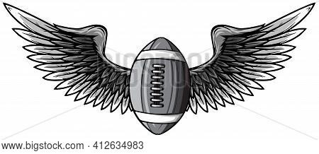 Monochromatic Realistic Ball For American Football With Black Wings Emblem Vector