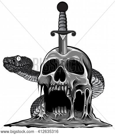 Monochromatic Colorful Tattoo Design With Skull And Snake. Vector Illustration.