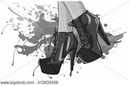 Monochromatic Vector Girls In High Heels. Fashion Illustration. Female Legs In Shoes. Cute Design.