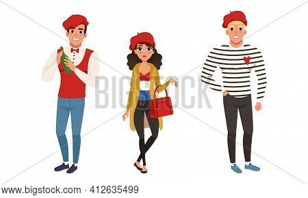Male And Female Parisian Characters Wearing Red Beret Vector Illustration Set