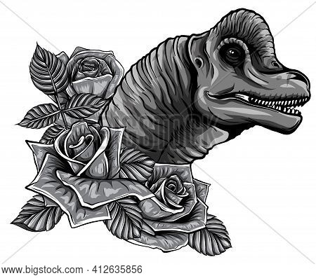 Monochromatic Dinosaur And Roses Frame. Vector Design. Concept Art Drawing.