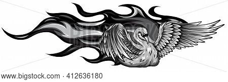 Monochromatic Vector Logo Illustration Fire Swan Gradient Colorful Style.
