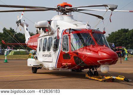 Fairford, United Kingdom - July 13, 2018: Hm Coastguard Agustawestland Aw-189 G-mcgw Search And Resc