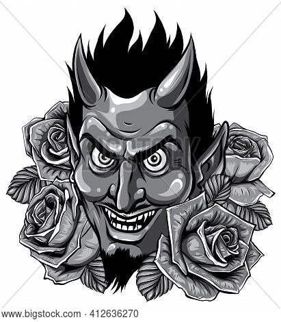 Monochromatic Evil Face With Red Roses. Illustration Vector Image