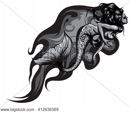 Monochromatic Fantasy Sea Sirens With Flames In Cartoon Style. Vector Illustration.