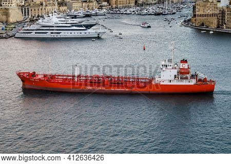 Valletta, Malta - November 30, 2016: Padre Pio Iii, Maltese Marine Vessel. Oil Products Tanker Trans