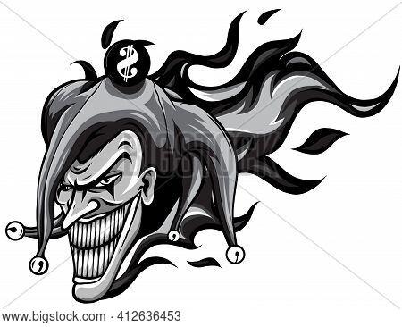 Monochromatic Evil Joker With Flames Vector Illustration Art