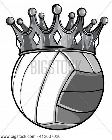 Monochromatic Volleyball Ball With Royal Crown. King Of Sport. Isolated On White. T
