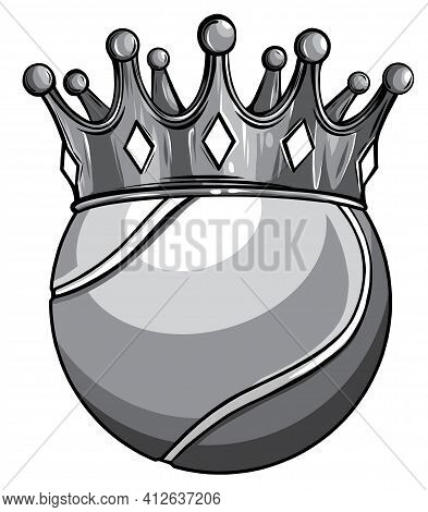 Monochromatic King Of Tennis Concept, A Tennis Ball Wearing A Gold Crown Vector