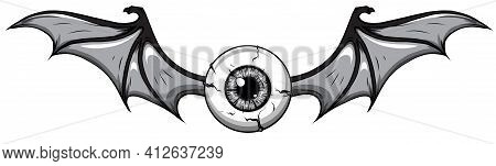 Monochromatic Vector Illustration Of Tattoo Flying Eyeball Design