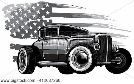 Monochromatic Vector Graphic Design Of An American Muscle Car