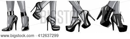 Monochromatic Vector Girls In High Heels. Fashion Illustration. Female Legs In Shoes. Cute Design. T