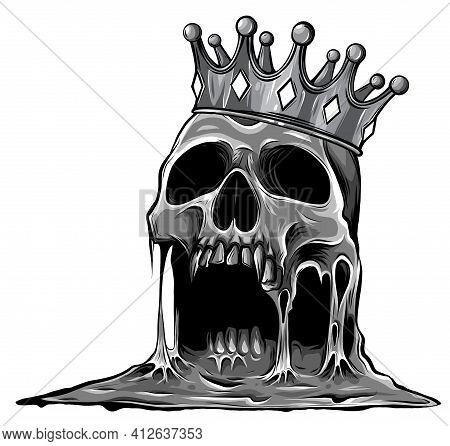 Monochromatic Hand Drawn King Skull Wearing Crown. Vector Illustration