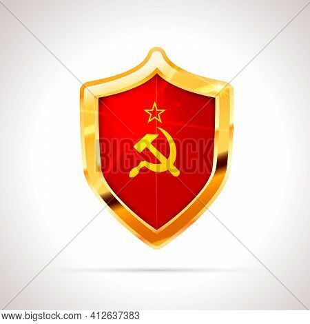Bright Golden Glossy Shield With Ussr Flag On White