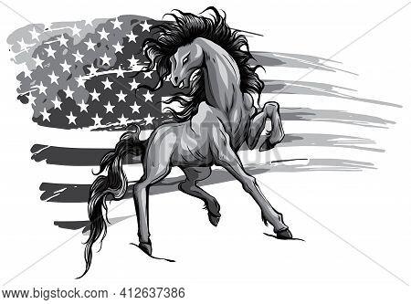 Monochromatic American Horse Flag Logo Vector Illustration Design