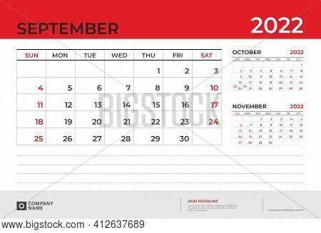 Desk Calendar 2022 Design, September 2022 Template, Week Start On Sunday, Planner Design, Wall Calen