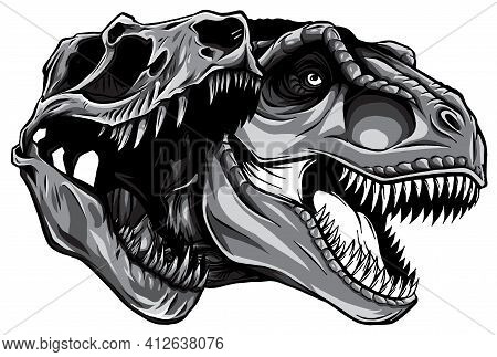 Monochromatic Cartoon T-rex Who Was Very Angry, Staring And Grinning Vector