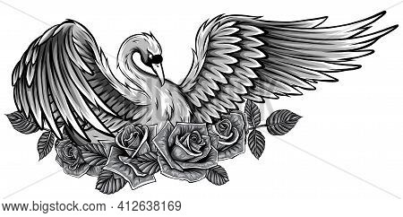 Monochromatic Fashion Vector Illustration With Bird. Be Swan Not Duck, Beauty Concept