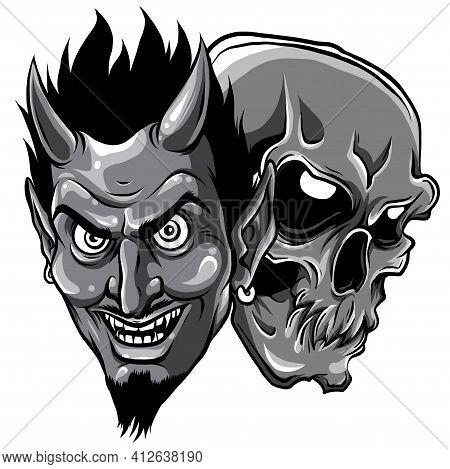 Monochromatic Demon Devil And Skull Head Vector Illustration