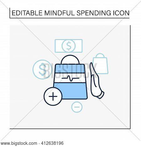 Not Impulsive Shopping Line Icon. Avoiding Impulse Buying.thoughtful Spending Money. Purchase Only N