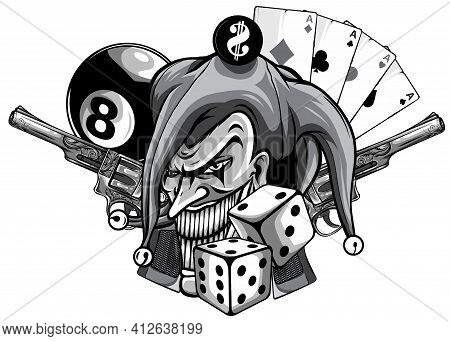 Monochromatic Vector Hand Drawn Illustration Of Angry Clown With Guns Isolated.