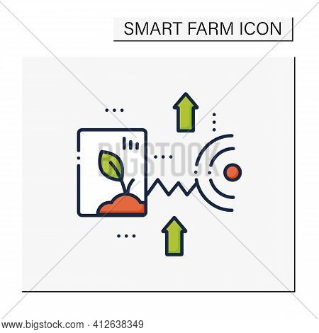 Crop Monitoring Color Icon. Monitoring Different Fields And Crops. Show Dynamics Of Harvest Developm