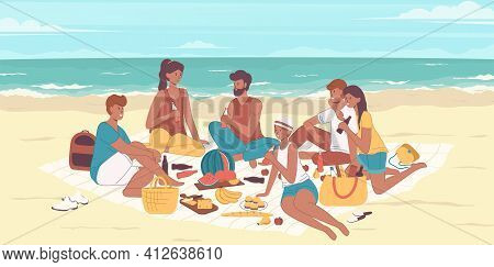Cartoon Color Characters People Friends On A Seashore Concept. Vector