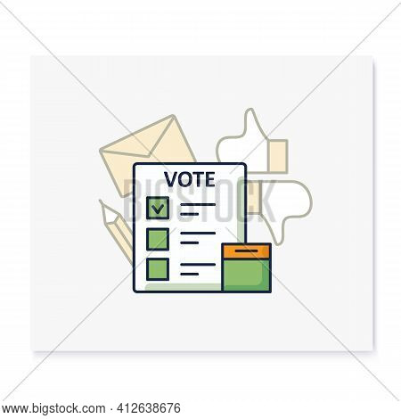 Election Color Icon. Voting Form, Ballot Or Checklist With Check Mark. Choice, Vote Concept. Democra