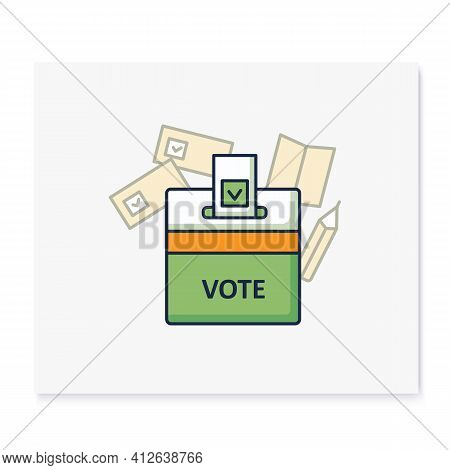 Vote Box Color Icon. Voting Form With Check Mark In Ballot Box. Choice, Vote Concept. Democracy. Par