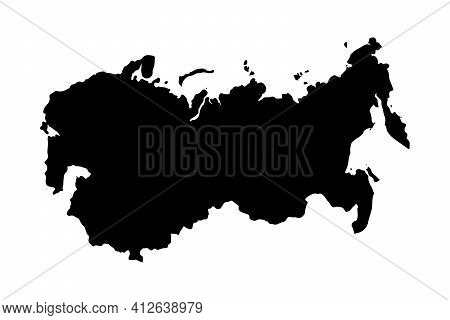 Ussr Country Black Silhouette Isolated On White