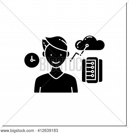 Information Age Glyph Icon. Opportunities For Individuals To Process Information Freely And Have Ins