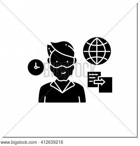 Data Duplication Glyph Icon. Ease Duplication Data Across The Internet. Copied Information, Plagiari